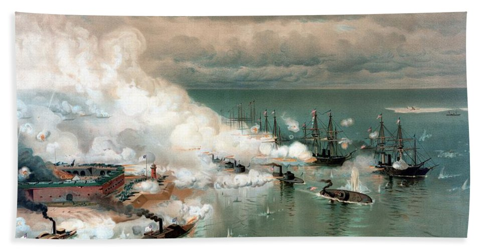 Civil War Beach Towel featuring the painting The Battle Of Mobile Bay by War Is Hell Store