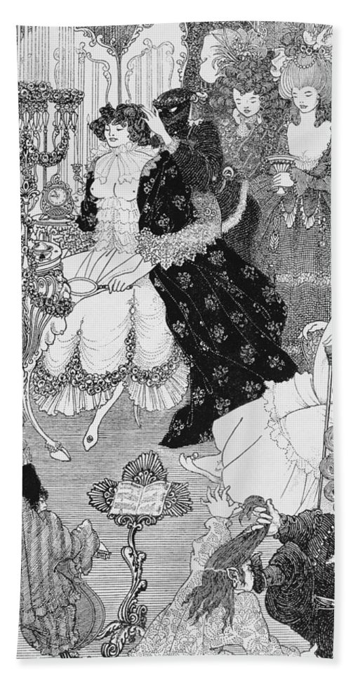 Aubrey Beach Towel featuring the drawing The Battle Of The Beaux And The Belles by Aubrey Beardsley