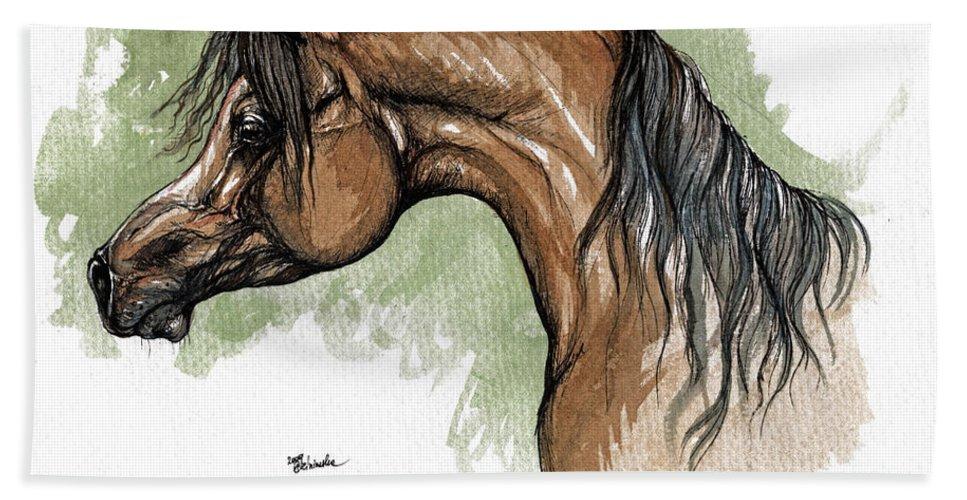 Horse Beach Towel featuring the painting The Bay Arabian Horse 12 by Angel Ciesniarska