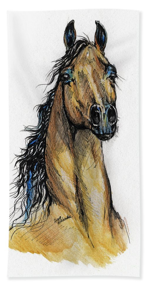 Arab Beach Towel featuring the painting The Bay Arabian Horse 13 by Angel Ciesniarska