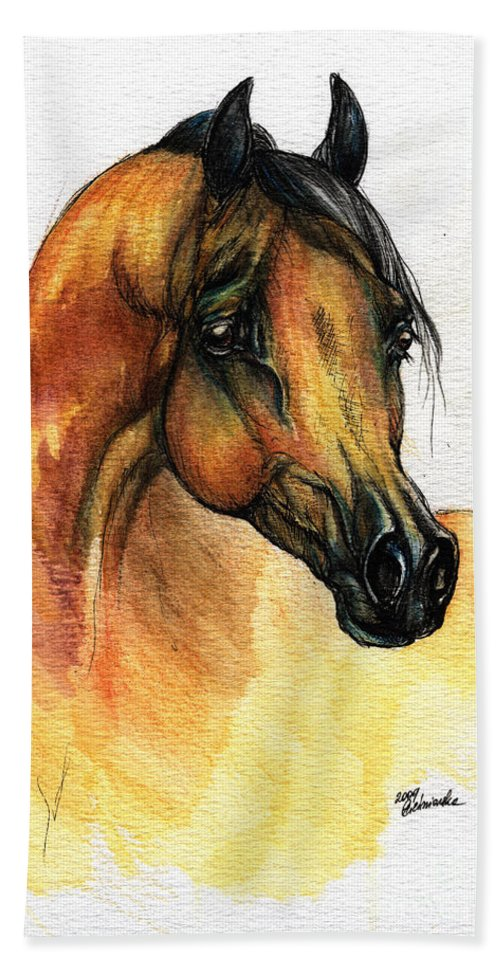 Watercolor Beach Towel featuring the painting The Bay Arabian Horse 14 by Angel Ciesniarska