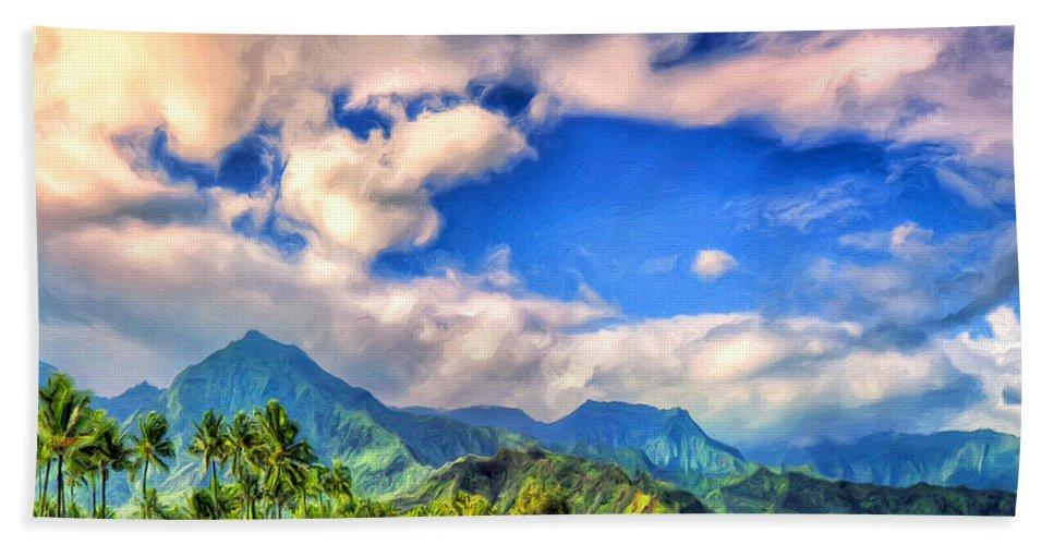 Kauai Beach Towel featuring the painting The Beach At Hanalei Bay Kauai by Dominic Piperata