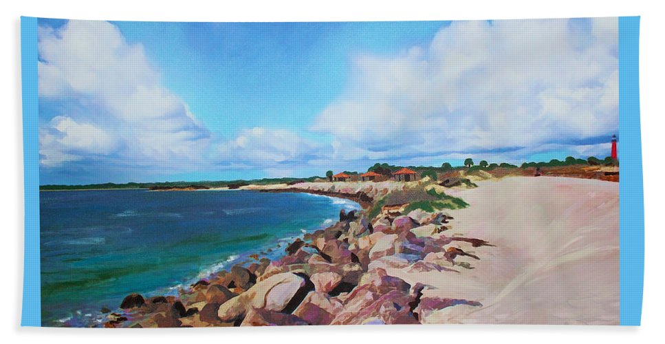 Beach Beach Towel featuring the mixed media The Beach At Ponce Inlet by Deborah Boyd
