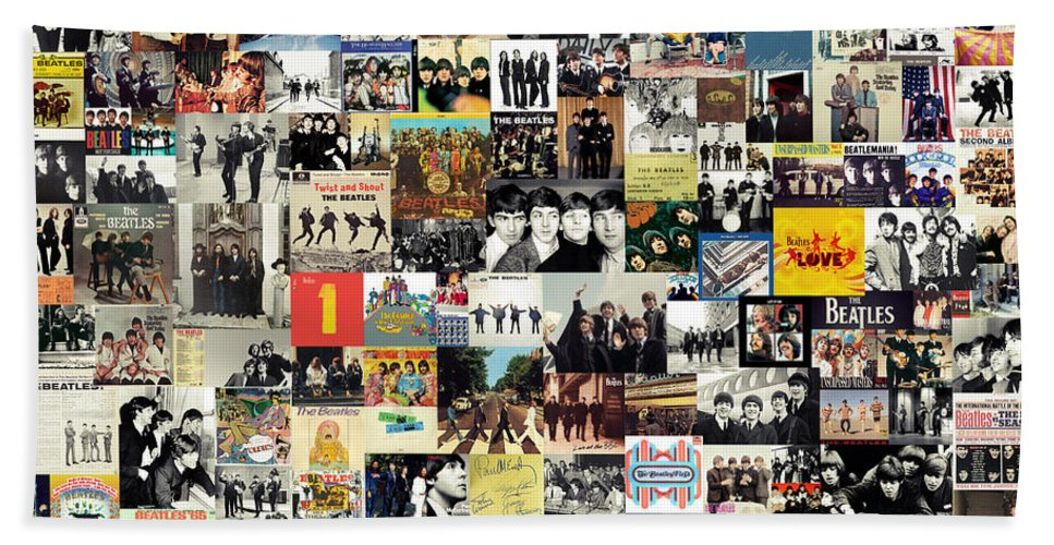 The Beatles Beach Towel featuring the digital art The Beatles Collage by Zapista OU