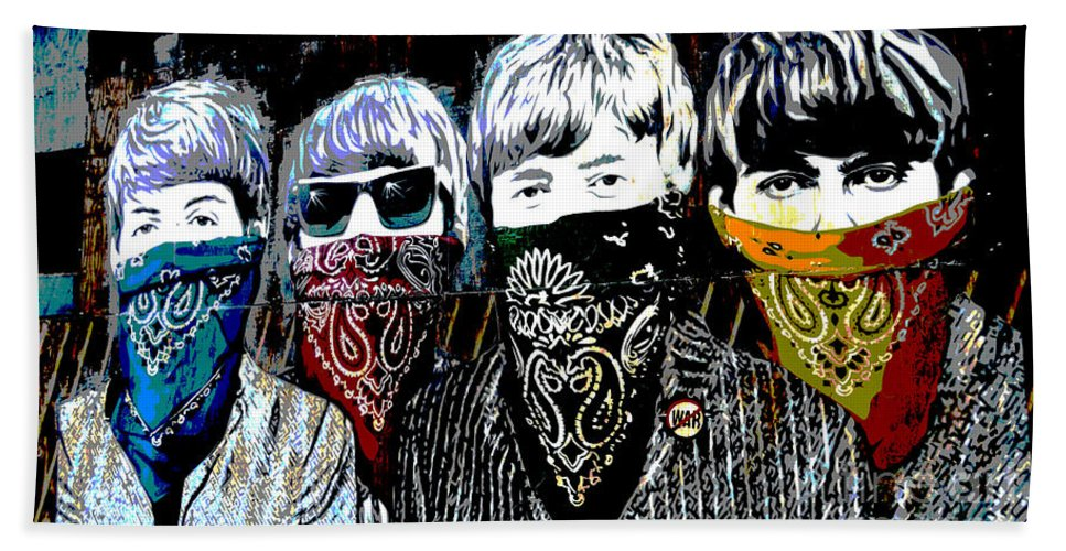 Banksy Beach Towel featuring the photograph The Beatles wearing face masks by RicardMN Photography