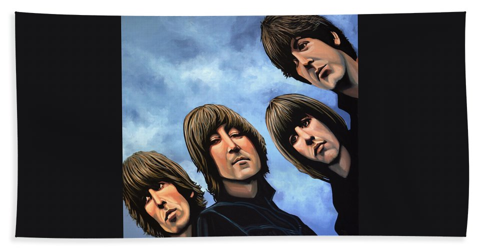 The Beatles Beach Towel featuring the painting The Beatles Rubber Soul by Paul Meijering