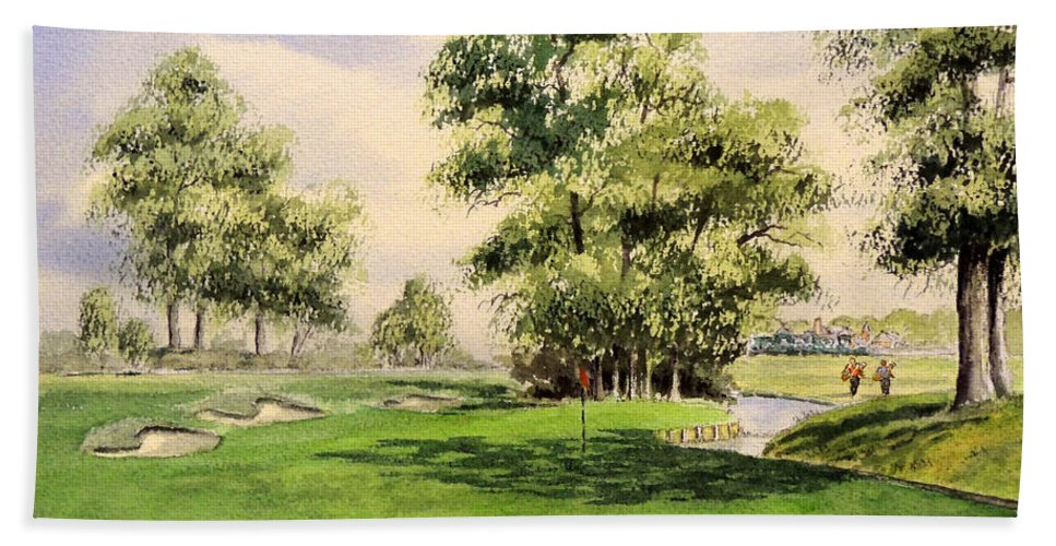 The Belfry Golf Course Beach Towel featuring the painting The Belfry Brabazon Golf Course 10th Hole by Bill Holkham