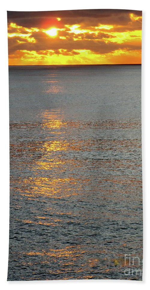 Sunset Beach Towel featuring the photograph The Black Sea In A Swath Of Gold by Phyllis Kaltenbach