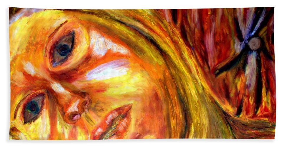 Oil Stick On Paper Beach Towel featuring the painting The Blonde 3 by Rachid Hatni