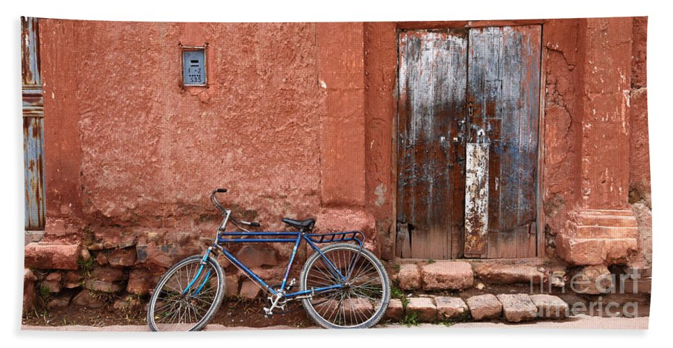 Bicycle Beach Towel featuring the photograph The Blue Bicycle by James Brunker