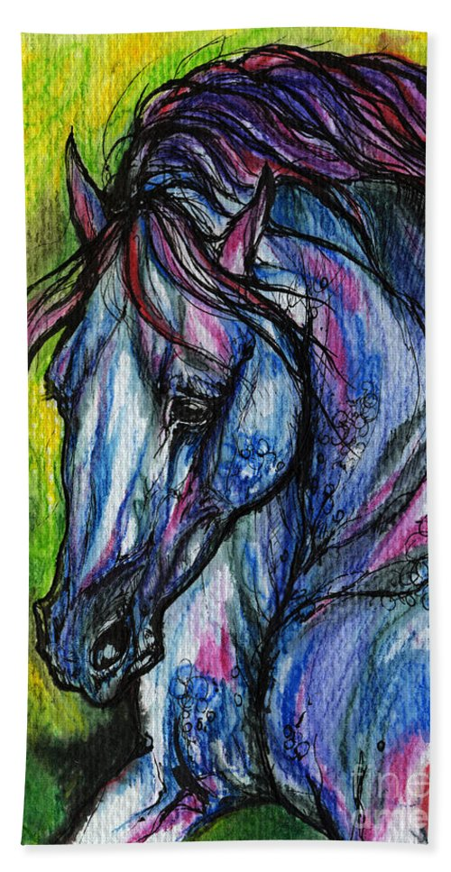 Horse Beach Towel featuring the painting The Blue Horse On Green Background by Angel Ciesniarska