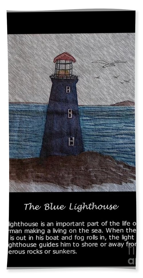 The Blue Lighthouse Beach Towel featuring the photograph The Blue Lighthouse by Barbara Griffin