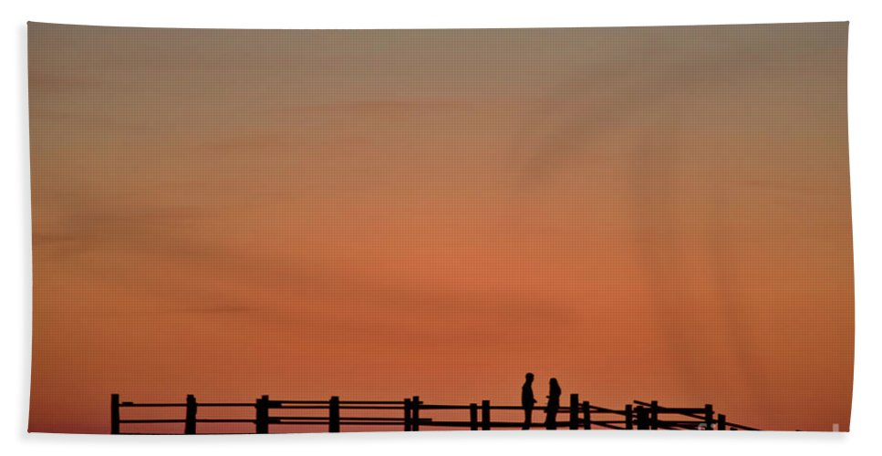 Afterglow Beach Towel featuring the photograph The Boardwalk by Heiko Koehrer-Wagner