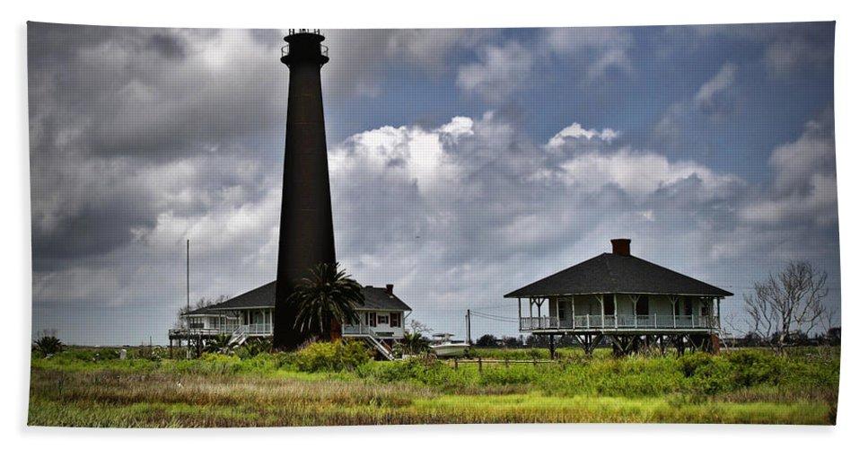Lighthouse Beach Towel featuring the digital art The Bolivar Lighthouse by Linda Unger