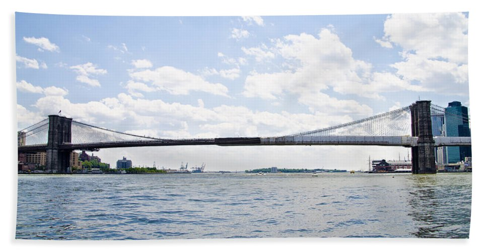 Brooklyn Beach Towel featuring the photograph The Brooklyn Bridge And East River by Bill Cannon