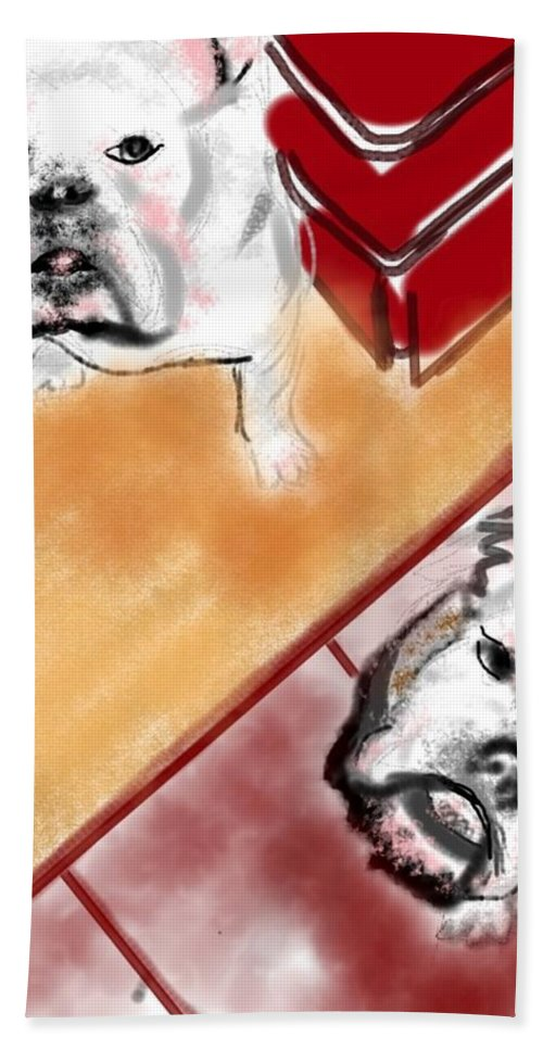 Bulldogs Beach Towel featuring the painting The Bulldogs by Lois Ivancin Tavaf