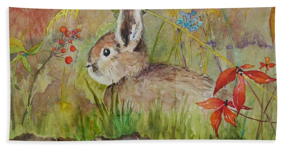 Nature Beach Sheet featuring the painting The Bunny by Mary Ellen Mueller Legault