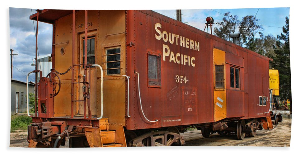 Railroad Beach Towel featuring the photograph The Caboose by Tommy Anderson