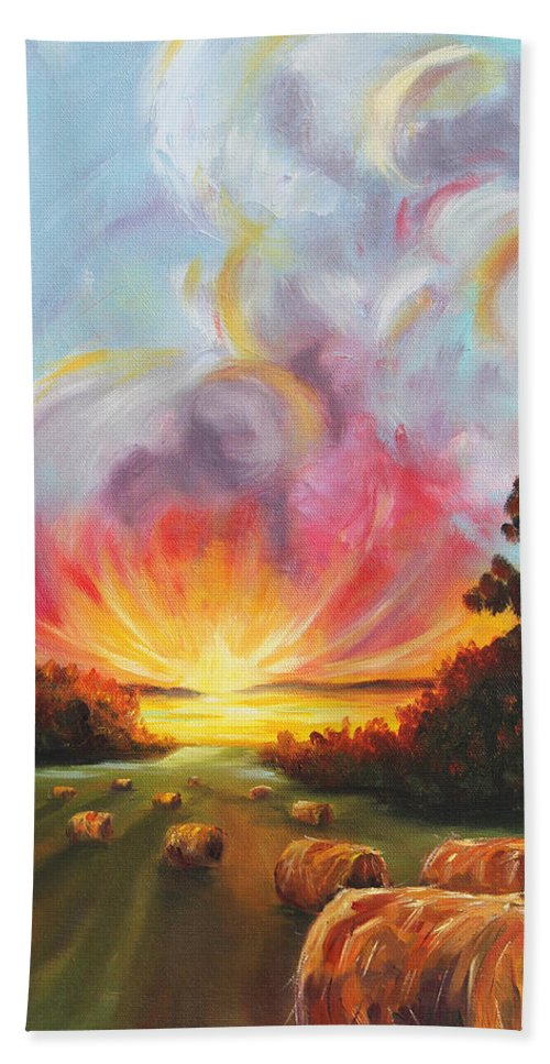 Harvest Beach Towel featuring the painting The Calling by Meaghan Troup
