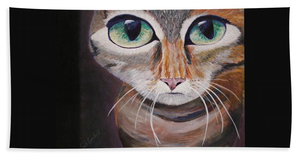 Cats Beach Towel featuring the painting The Cat by Trish Campbell