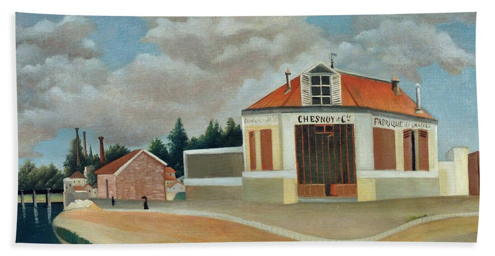 Parisian Suburbs Beach Towel featuring the painting The Chair Factory At Alfortville by Henri Rousseau