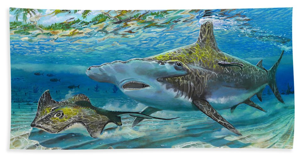 Shark Beach Towel featuring the painting The Chase by Carey Chen