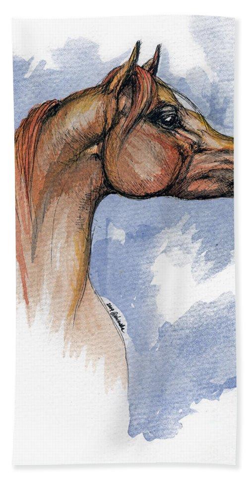 Arabian Beach Sheet featuring the painting The Chestnut Arabian Horse 4 by Angel Ciesniarska
