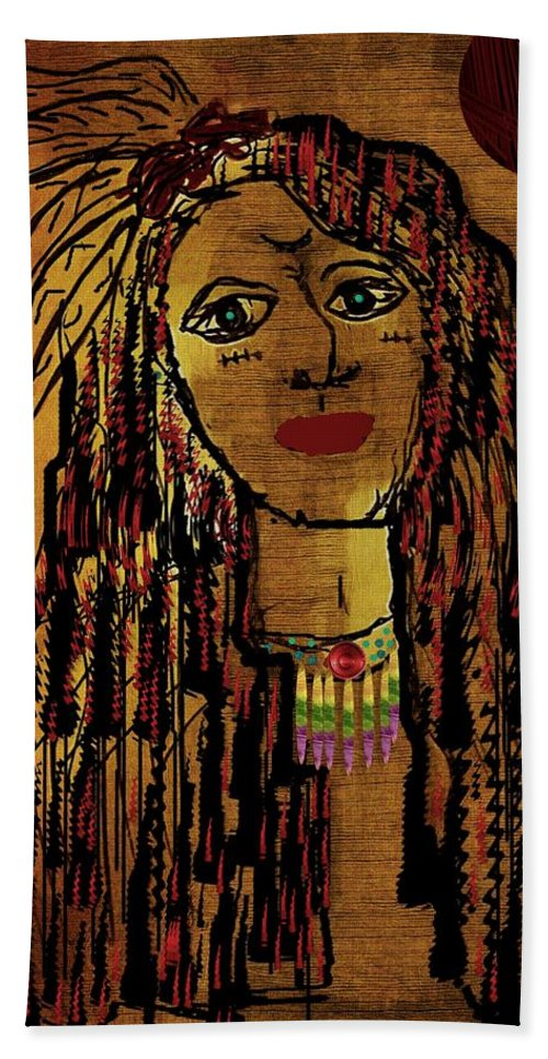 Landscape Beach Towel featuring the mixed media The Cheyenne Indian Warrior Brave Wolf Pop Art by Pepita Selles