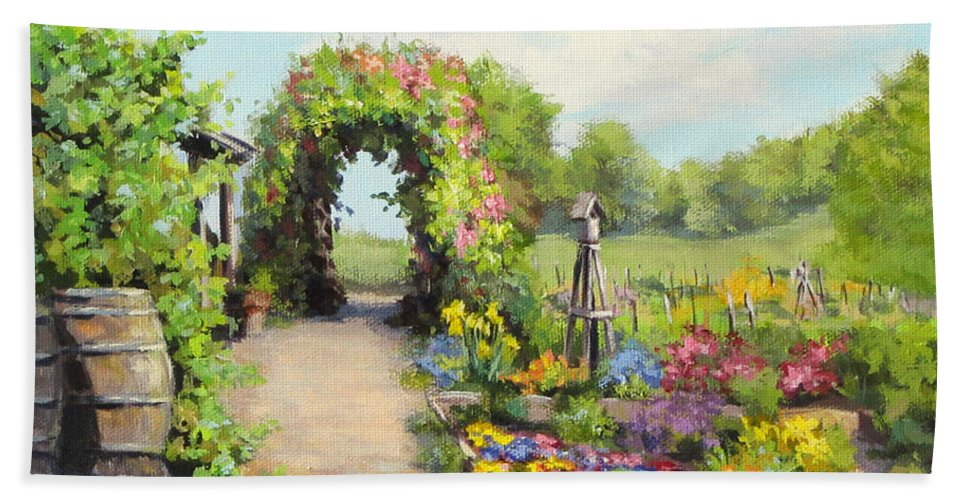 Landscape Beach Towel featuring the painting The Children's Garden by Karen Ilari