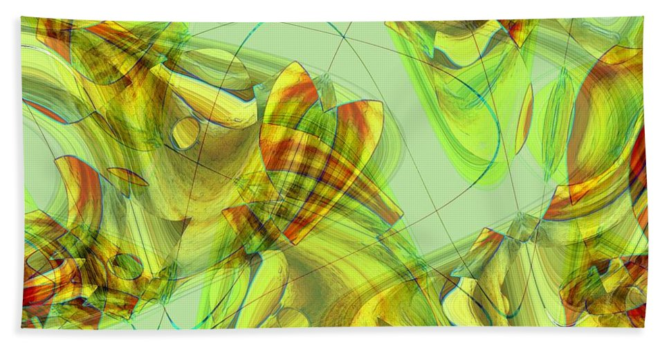 Abstract Beach Towel featuring the painting The Chrysalis Shatters by RC DeWinter
