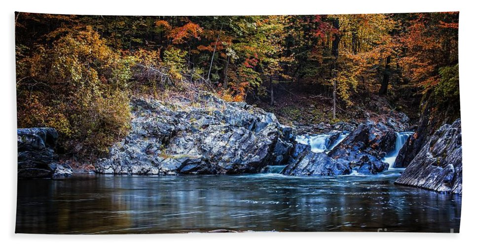 Thetford Beach Towel featuring the photograph The Chutes Thetford Vermont by Edward Fielding