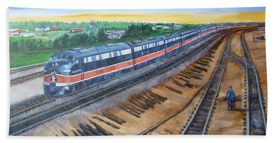 Train Beach Towel featuring the painting The City Of New Orleans by Bryan Bustard