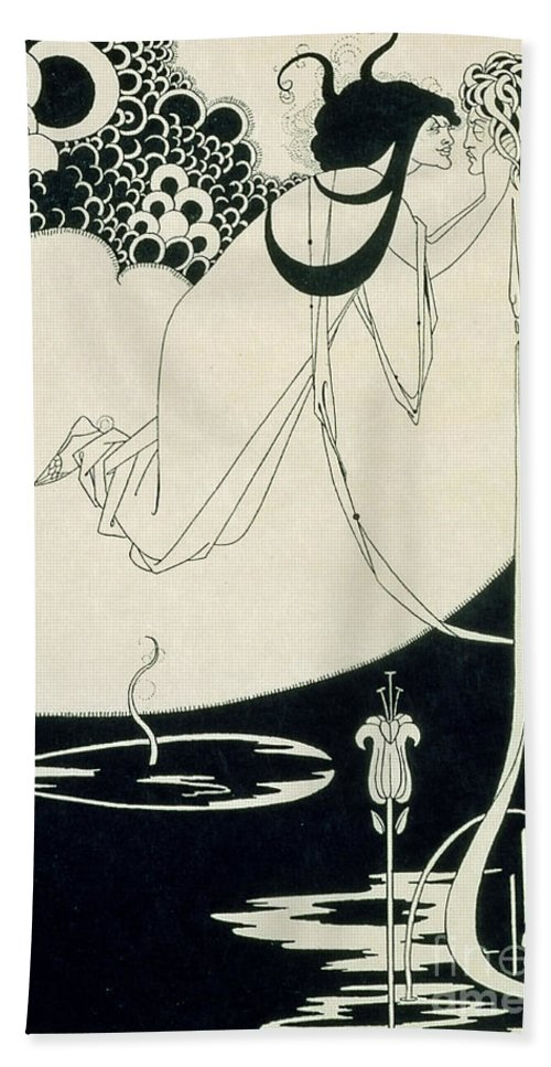 Aubrey Beach Towel featuring the drawing The Climax by Aubrey Beardsley