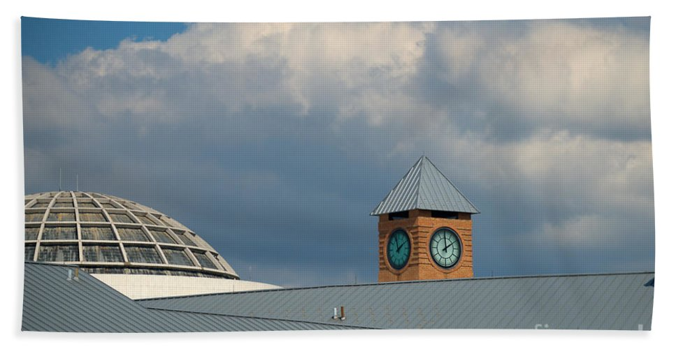 Homecoming Beach Towel featuring the photograph The Clock And The Dome by Mark Dodd