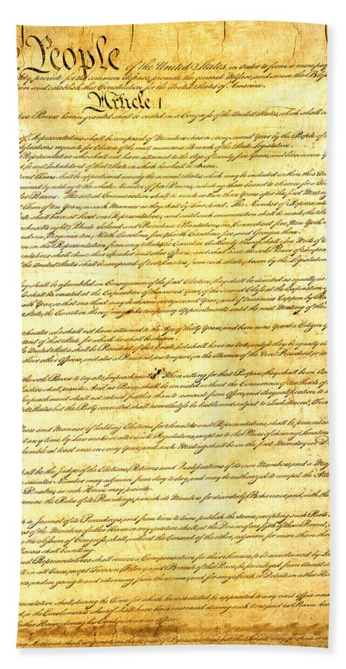 Constitution Beach Towel featuring the mixed media The Constitution of the United States of America by Design Turnpike