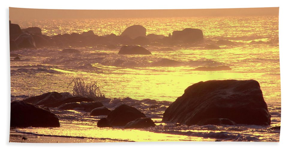 Dawn Beach Towel featuring the photograph The Dawn Is Breaking by Cindy Greenstein