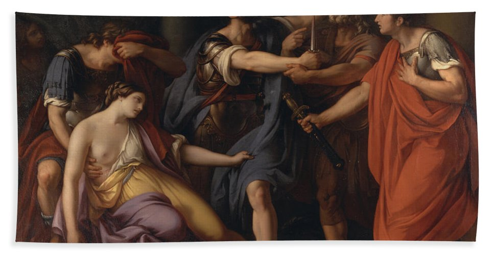 Gavin Hamilton Beach Towel featuring the painting The Death Of Lucretia by Gavin Hamilton