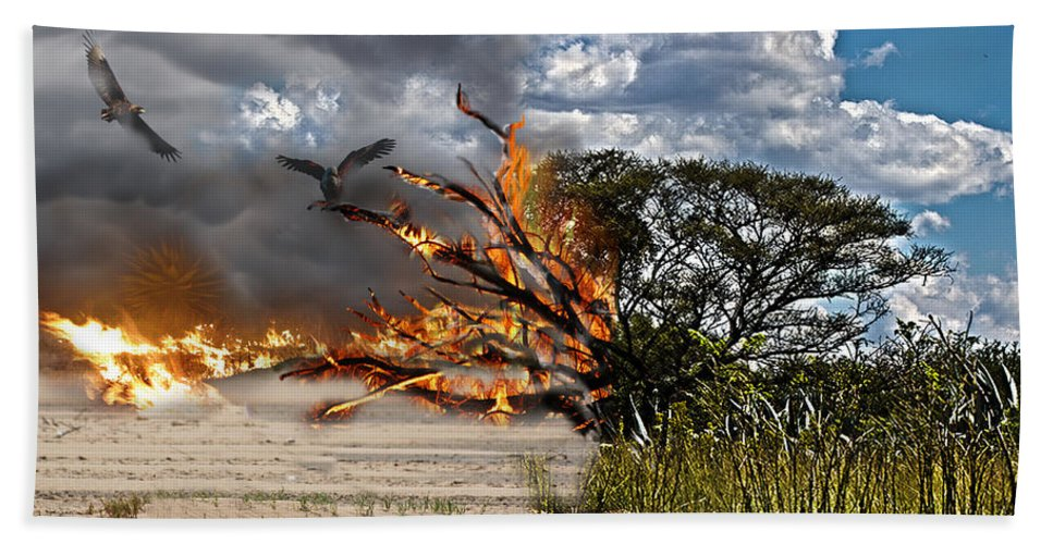 Destruction Beach Towel featuring the photograph The Destruction Of Our Land by Ronel Broderick