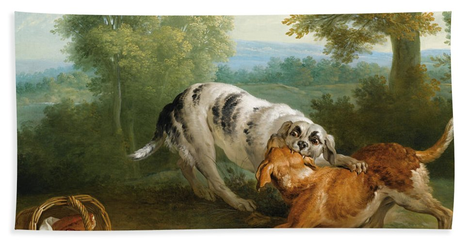 Jean-baptiste Oudry Beach Towel featuring the painting The Dog Carring His Dinner To His Master by Jean-Baptiste Oudry