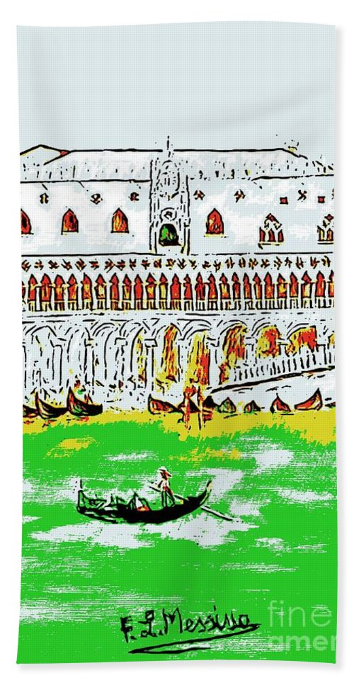 Drawing Beach Towel featuring the painting The Doge's Palace by Loredana Messina