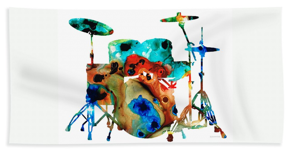 Drum Beach Towel featuring the painting The Drums - Music Art By Sharon Cummings by Sharon Cummings