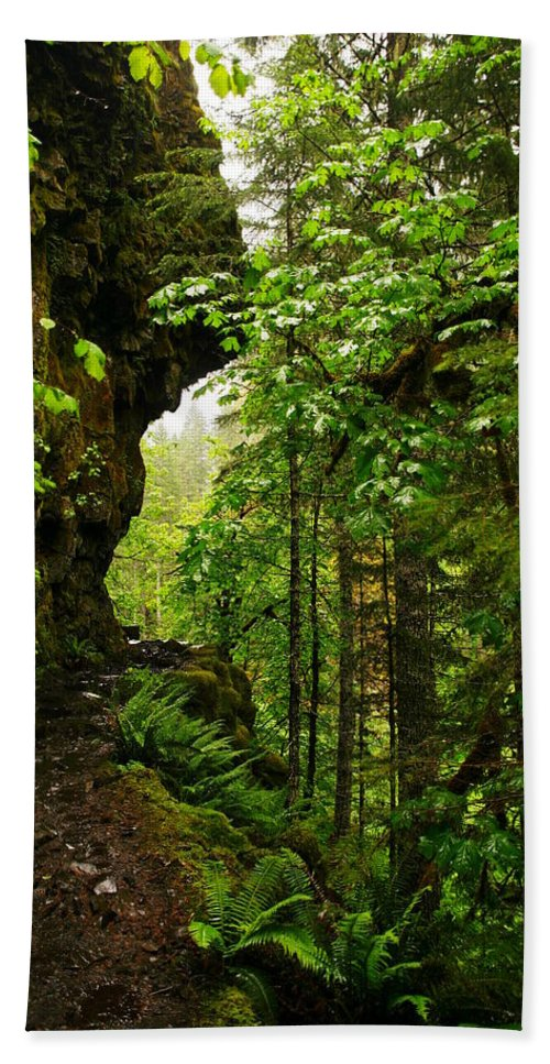 Cliffs Beach Towel featuring the photograph The Eagle Creek Trail by Jeff Swan