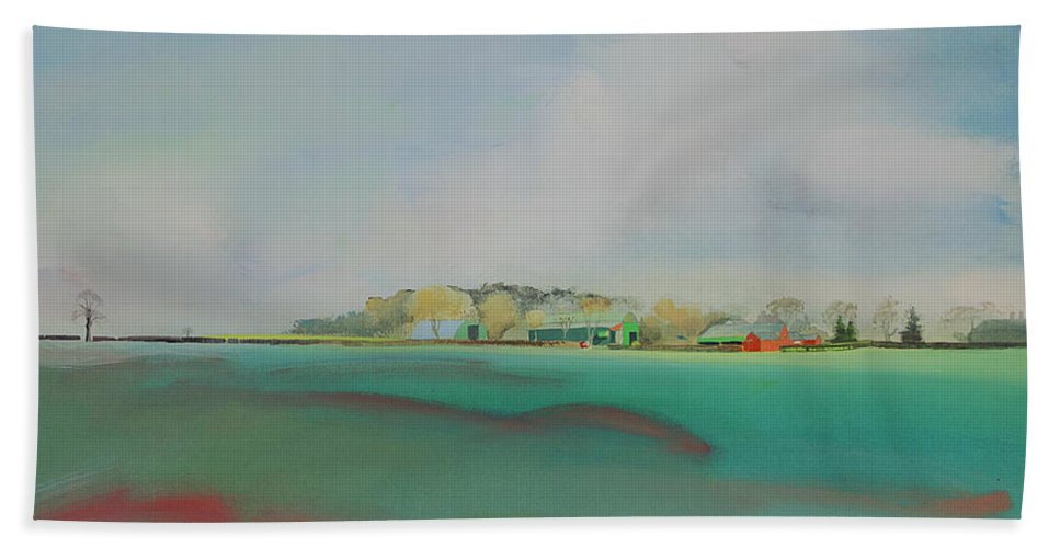 Landscape Beach Towel featuring the painting The English Farm  A Break In The Cloud by Charles Stuart