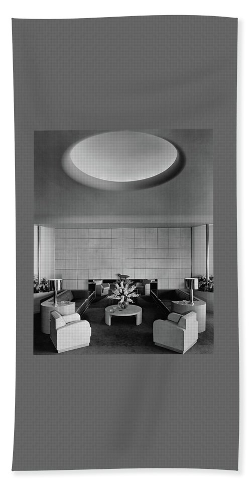 Interior Beach Towel featuring the photograph The Executive Lounge At The Ford Exposition by Robert M. Damora