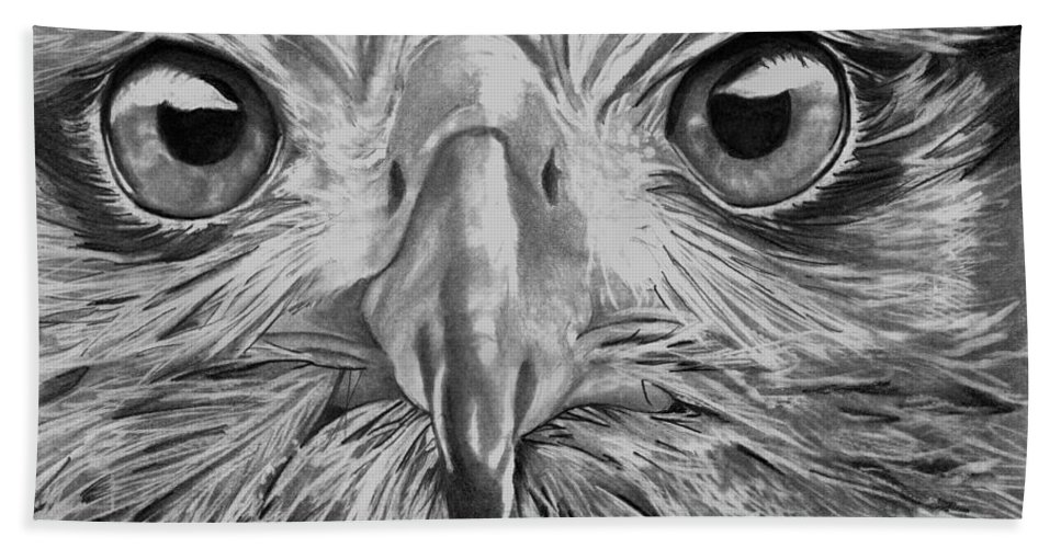 Graphite Beach Towel featuring the drawing The Eyes Are On You by Bill Richards