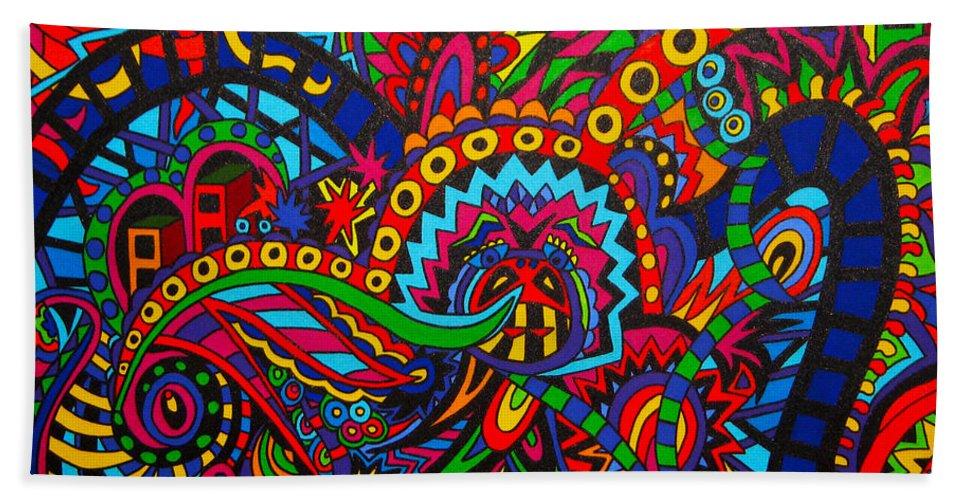Line Art Beach Towel featuring the painting The Fair by Karen Elzinga