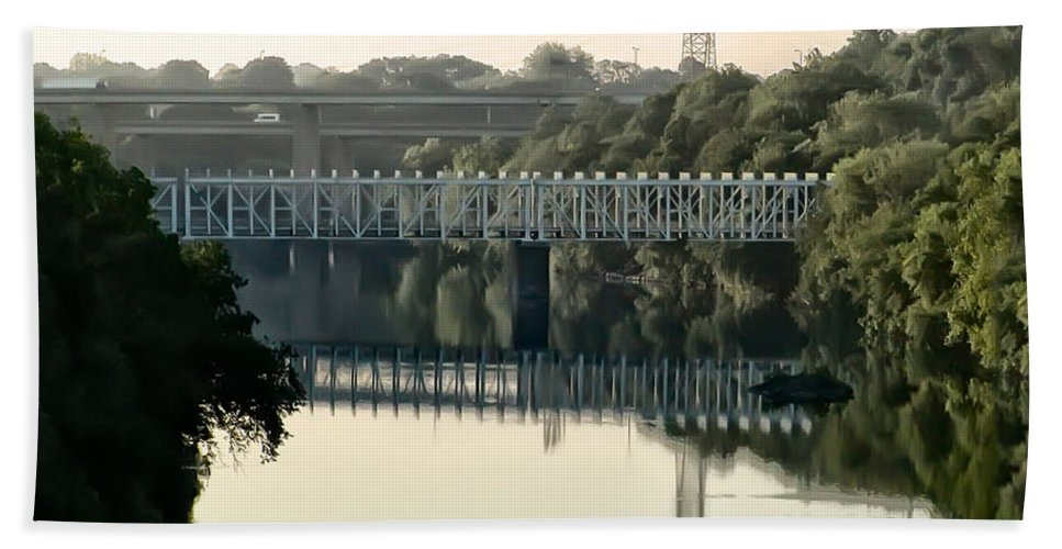 The Falls Bridge Over The Schuylkill River Beach Towel featuring the photograph The Falls Bridge Over The Schuylkill River by Bill Cannon