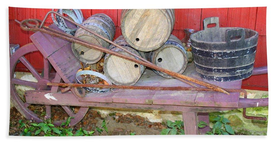 The Farmer'd Old Wheelbarrow Beach Towel featuring the photograph The Farmer's Old Wheelbarrow by Dora Sofia Caputo Photographic Design and Fine Art