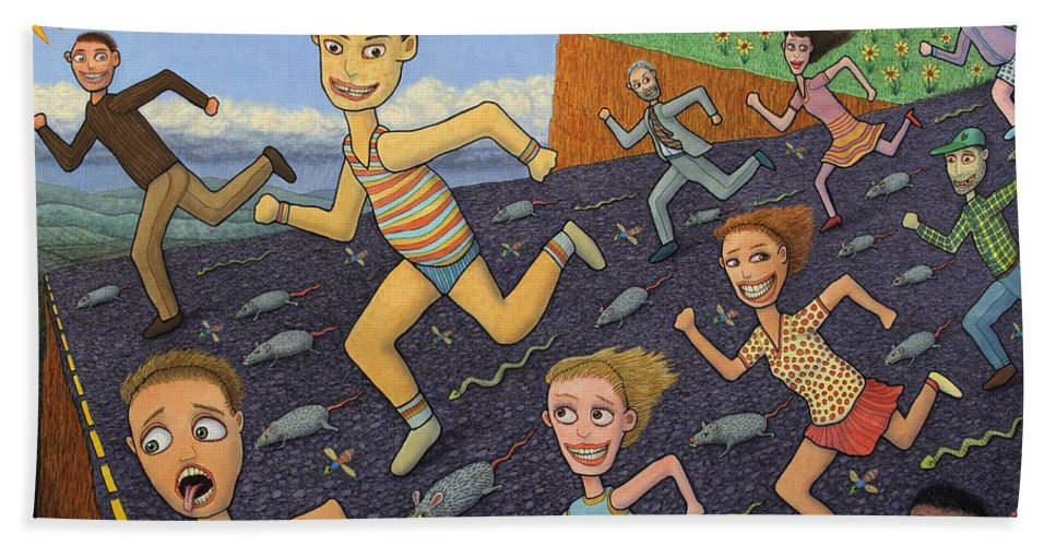 Running Beach Towel featuring the painting The Finish Line by James W Johnson