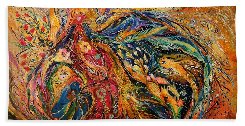 Original Beach Towel featuring the painting The Fire Dance by Elena Kotliarker
